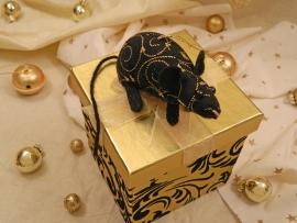 Black with Gold Vines Mouse/Rat Ornament