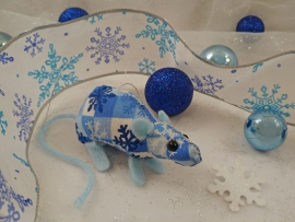 Blue Checkered Mouse/Rat Ornament