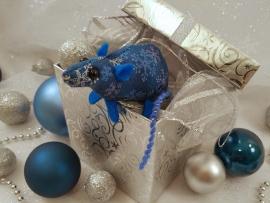 Blue Snowflakes Mouse/Rat Ornament