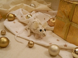 Cream with Gold Vines Mouse/Rat Ornament