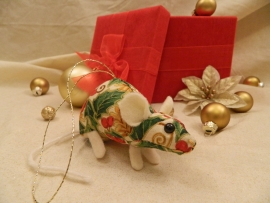 Gold Holly Mouse/Rat Ornament