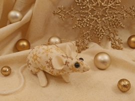 Gold Snowflakes 2 Mouse/Rat Ornament