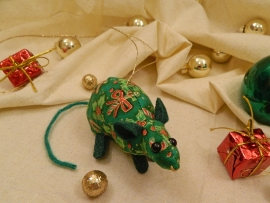 Candy & Holly Mouse/Rat Ornament