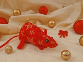 Red with Gold Stars Mouse/Rat Ornament