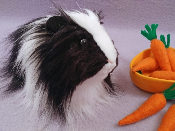Big Black Dutch Longhaired Guinea Pig Plushie