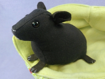 Big Black Hairless Guinea Pig Plushie