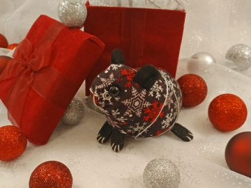 Black with Red & Silver Snow Guinea Pig Ornament
