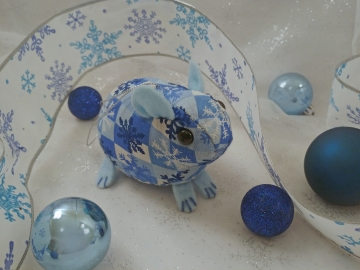 Blue Checkered Snowflakes Guinea Pig Ornament