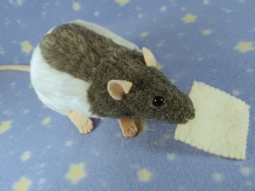Blue Grey Half-Hooded Rat Plushie