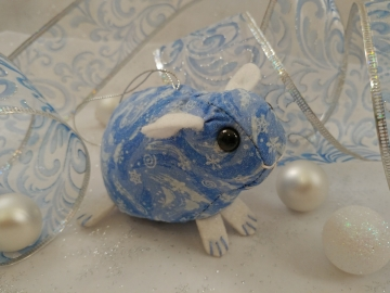 Blue Snow & Wind Guinea Pig Ornament