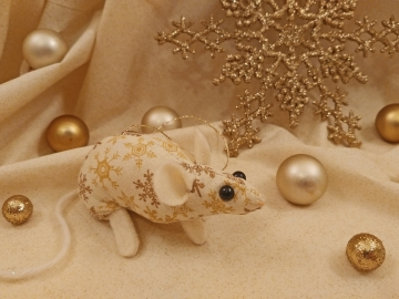 Gold Snowflakes 2 Mouse/Rat Ornament