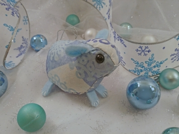 Light Blue Snowflakes Guinea Pig Ornament
