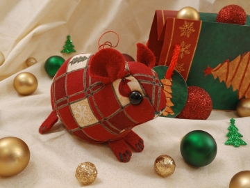 Maroon Checkered Guinea Pig Ornament