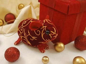 Maroon Velvet Guinea Pig Ornament