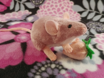 Pink Mouse Plushie with White Belly