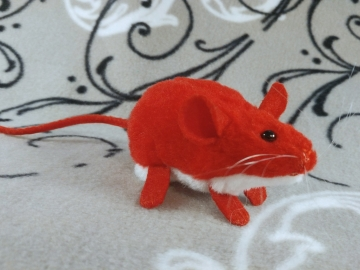 Red Mouse Plushie with White Belly