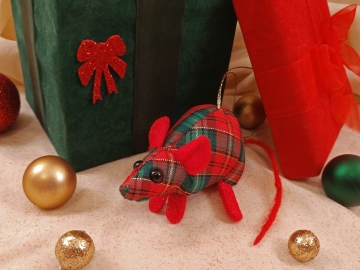 Red Plaid Mouse/Rat Ornament