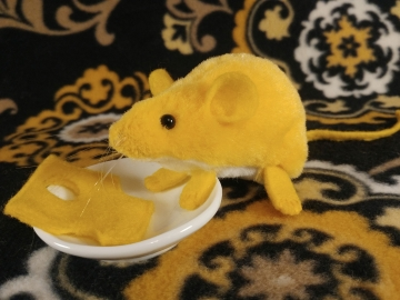 Yellow Mouse Plushie with White Belly